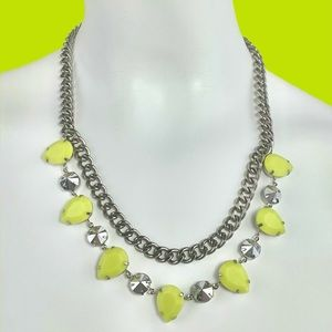 Neon Yellow Silver Chain Necklace
